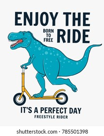 Cute dinosaur riding scooter. Vector illustration for t-shirt and other uses.