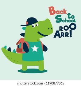 Cute dinosaur with school bag. Back to school vector illustration