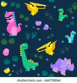 Cute dinosaur seamless pattern. Cartoon vector background is suitable for cards, wallpapers, backgrounds of any kind, fabric and textile printing.