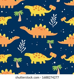 Cute dinosaur seamless pattern for kids, baby textile, wallpaper, nursery design. Funny little dino of hand drawn style. Vector illustration.