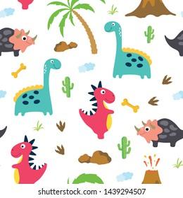 Cute dinosaur seamless pattern. Vector illustration.