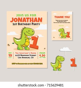Cute Dinosaur Theme 1st Birthday Party Invitation And Thank You Card For Children