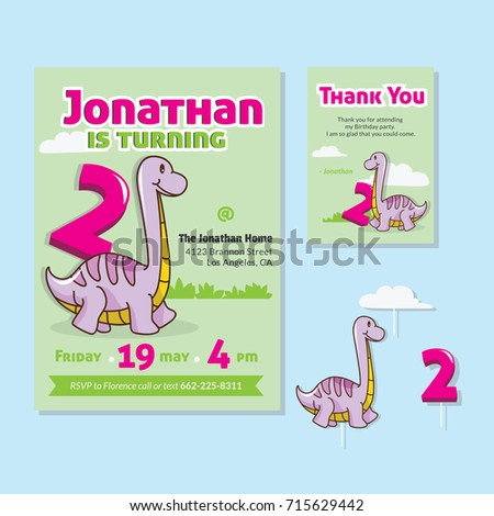 Cute Dinosaur Theme 2nd Birthday Party Invitation And Thank You Card For Children