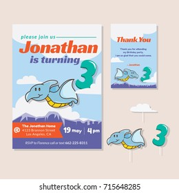 Cute Dinosaur Theme 3rd Birthday Party Invitation And Thank You Card For Children