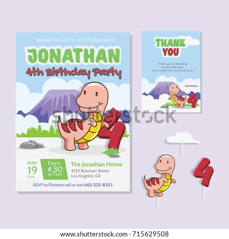 Cute Dinosaur Theme 4th Birthday Party Invitation And Thank You Card For Children