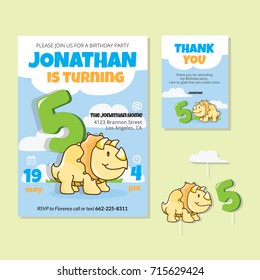 Cute Dinosaur Theme 5th Birthday Party Invitation And Thank You Card For Children