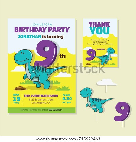 Cute Dinosaur Theme 9th Birthday Party Invitation And Thank You Card For Children