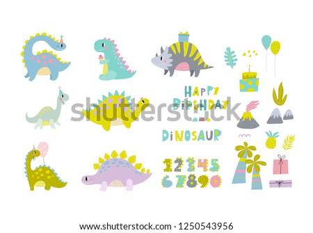 Cute Dinosaur Vector Print For Kids Happy Birthday Cards With Cartoon Dino