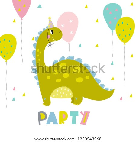 Cute Dinosaur Vector Print For Kids Happy Birthday Cards With Cartoon Dino