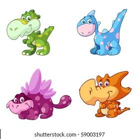 cute dinosaur vector set