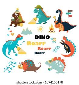Cute dinosaurs.  Cartoon. Set. Flat vector