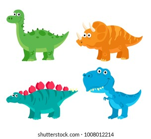 Cute Dinosaurs Diplodocus, Triceratops, Stegosaurus, Tyrannosaurus. Cartoon Style Vector Illustration
