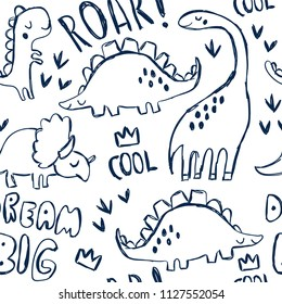 Cute dinosaurs and hand lettering. Funny cartoon dino seamless pattern. Hand drawn vector doodle design for girls, boys, kids. Hand drawn children's pattern for fashion clothes, shirt, fabric