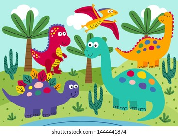 cute dinosaurs with landscape background - vector illustration, eps