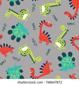 cute dinosaurs pattern design as vector