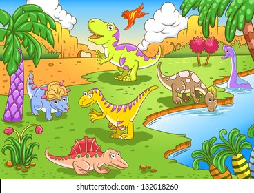 Cute dinosaurs in prehistoric scene EPS10 File - simple Gradients, no Effects, no mesh, no Transparencies. All in separate  group and layer for easy editing