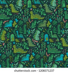 Cute dinosaurs seamless pattern design. Funny dinos wallpaper image. Tileable illustration for fabric textile, wrapping paper or background texture.