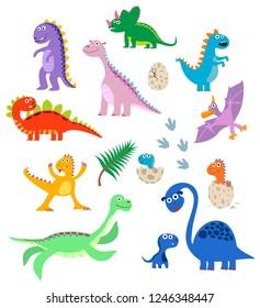 Cute dinosaurs set. Baby cartoon smiling dinosaur animals isolated on white background, vector illustration