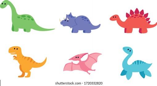 Cute dinosaurs set: diplodocus, triceratops, stegosaurus, t-rex, pterodactyl and plesiosaurus