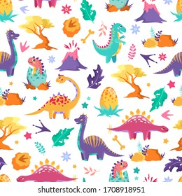 Cute dinosaurs, trees and volcanoes on a white background. Children's colorful print, seamless pattern