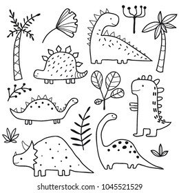 Cute dinosaurs and tropic plants. Funny cartoon dino collection. Hand drawn vector doodle set for kids. Black and white, monochrome