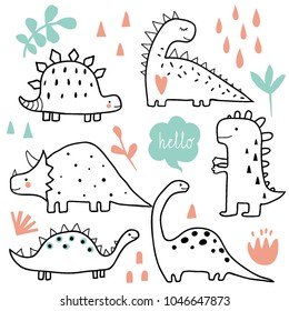 Cute dinosaurs and tropic plants. Funny cartoon dino collection. Hand drawn vector doodle set for kids