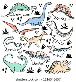 Cute dinosaurs and tropic plants. Funny cartoon dino. Hand drawn vector doodle design for girls, kids. Hand drawn children's illustration for fashion clothes, shirt, fabric