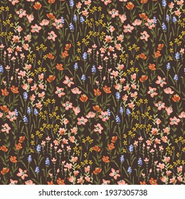Cute ditsy painted flowers in orange, pink, lavender, and yellow on brown. Mille-fleur spring seamless vector pattern. Great for home decor, fabric, wallpaper, gift-wrap, stationery, and design