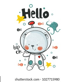 Cute diver Bear under the water.cartoon hand drawn vector illustration. Can be used for baby t-shirt print, fashion print design, kids wear, baby shower celebration greeting and invitation card.