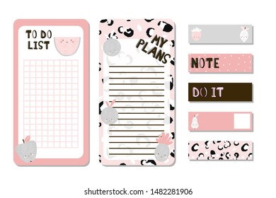 Cute to do list with fruits and quotes. Girlish fashion planner set. Vector hand drawn illustration.