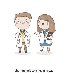 Cute doctors. Vector characters