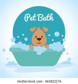 Cute dog bathing