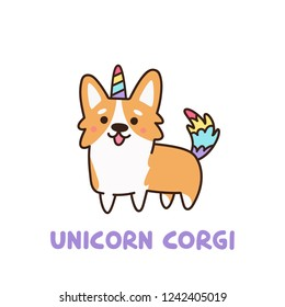 Cute dog breed welsh corgi in a unicorn costume with horn and colorful tail. It can be used for sticker, patch, phone case, poster, t-shirt, mug and other design.