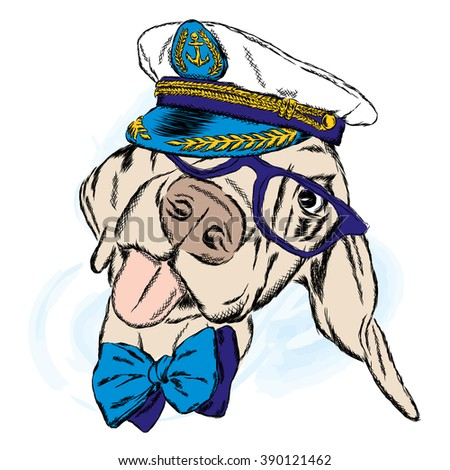 528f7566 Cute Dog Captains Cap Sailor Vector Stock Vector (Royalty Free ...