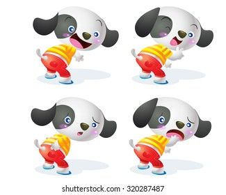 cute dog cartoon character action many emotion