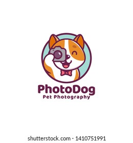 cute dog cartoon character smile with camera for pet photography logo. vector