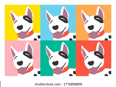 Cute dog cartoon isolated on pastel colors background. Vector illustration art.
