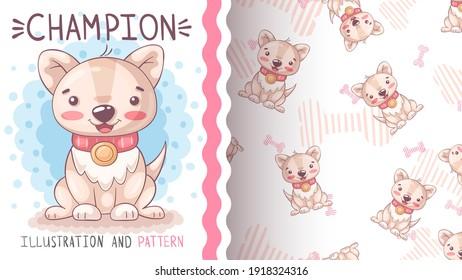 Cute dog champion - seamless pattern