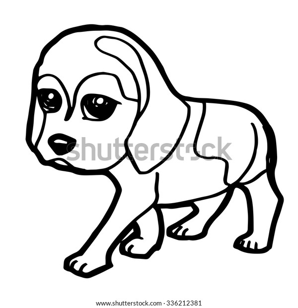Cute Dog Coloring Page Vector Stockvector Rechtenvrij 336212381