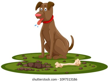A Cute Dog Digging Bone illustration