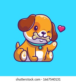 Cute Dog Eating Bone Vector Icon Illustration. Puppy Dog Mascot Cartoon Character. Animal Icon Concept White Isolated. Flat Cartoon Style Suitable for Web Landing Page, Banner, Flyer, Sticker, Card