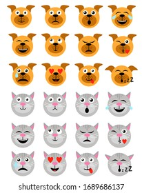 Cute Dog and Сat Emoticon. Dog and Сat Emoji Emoticon Expression. Happy, sad, angry, dazed, sleep, shocked, tired, in love and other emotions. Flat style vector illustration