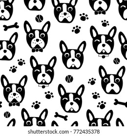 Cute Dog Face Cartoon Seamless Repeat Pattern - Boston Terrier / French Bulldog - Black and White Color Pallette