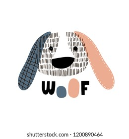 Cute dog face childish print. Perfect for t-shirt, apparel, cards, poster, nursery decoration. Vector Illustration
