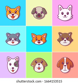 Cute Dog Face Collections Vector Icon Illustration. Breed of Dog Face. Animal Icon Concept White Isolated. Flat Cartoon Style Suitable for Web Landing Page, Banner, Flyer, Sticker, Card, Background