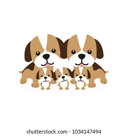 Cute dog family cartoon. Dad,mom,baby dog.