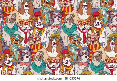 Cute dog fashion hipster seamless pattern.  Color vector illustration. EPS8