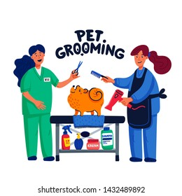 Cute dog at groomer salon. Two young girls shearing and combing spitz. Dog care, grooming, hygiene, health. Pet shop, accessories. Flat style vector illustration