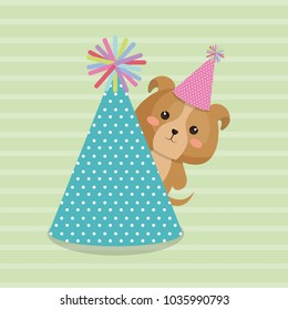 cute dog with hat party kawaii birthday card