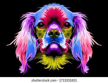 cute dog head colorful long hair with pop art style and isolated black backround
